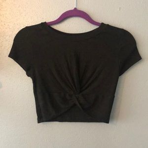 Black Knotted Crop Tee